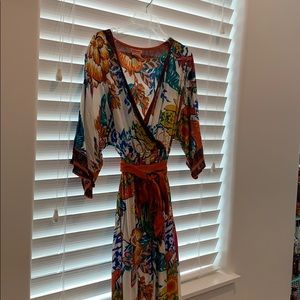 Print wrap top dress with belt